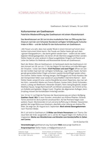 Feierliche Wiedereröffnung des Goetheanum mit einem Klavierkonzert: Kultursommer am Goetheanum