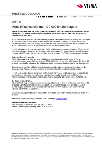 Årets influensa slår mot 170 000 småföretagare