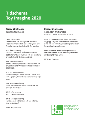 Tidsschema ToY Imagine 20-21 oktober 2020