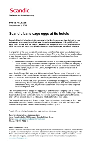 Scandic bans cage eggs at its hotels