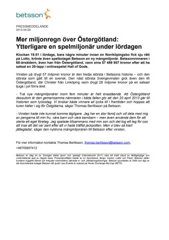Mer miljonregn över Östergötland:  Ytterligare en spelmiljonär under lördagen
