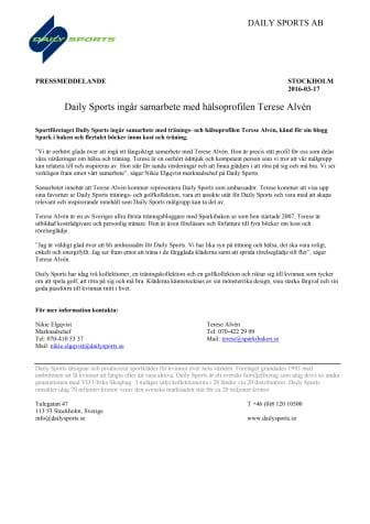 Daily Sports ingår samarbete med hälsoprofilen Terese Alvén