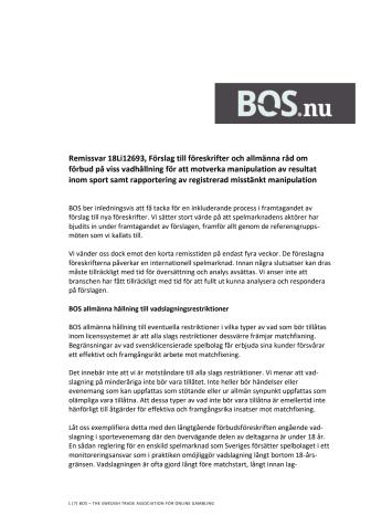 BOS yttrande om Spelinspektionens föreslagna föreskrifter