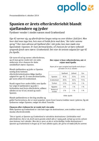 Spanien er årets efterårsferiehit blandt sjællændere og jyder