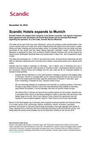 Scandic Hotels expands to Munich