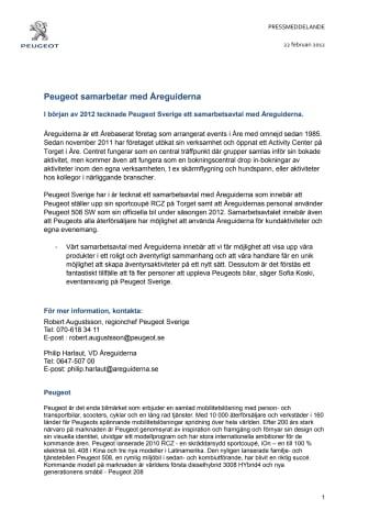 Peugeot samarbetar med Åreguiderna