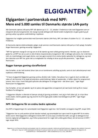 Elgiganten i partnerskab med NPF:  Mere end 5.000 samles til Danmarks største LAN-party