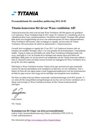 Titania-koncernen förvärvar Wasa Ventilation AB!