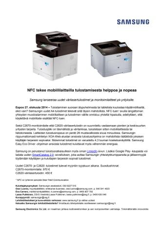 NFC tekee mobiililaitteilla tulostamisesta helppoa ja nopeaa