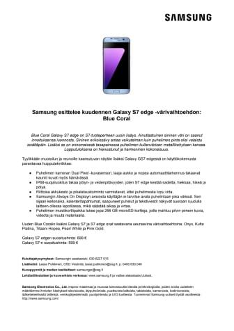 Samsung esittelee kuudennen Galaxy S7 edge -värivaihtoehdon: Blue Coral