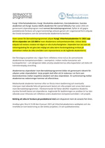 Bernadotteprogrammet 2021