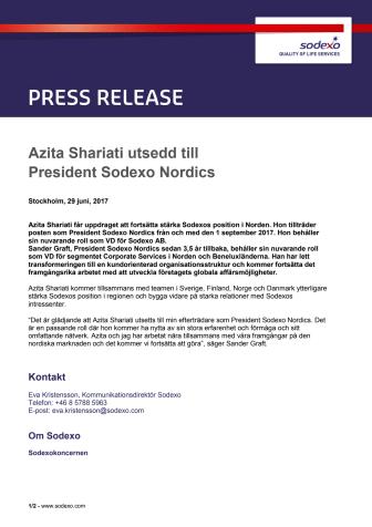 Azita Shariati utsedd till President Sodexo Nordics
