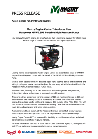 Mastry Engine Center Introduces New Maspower MPW2.5PE Portable High Pressure Pump