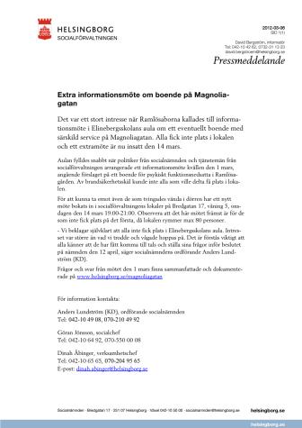 Extra informationsmöte om boende på Magnoliagatan