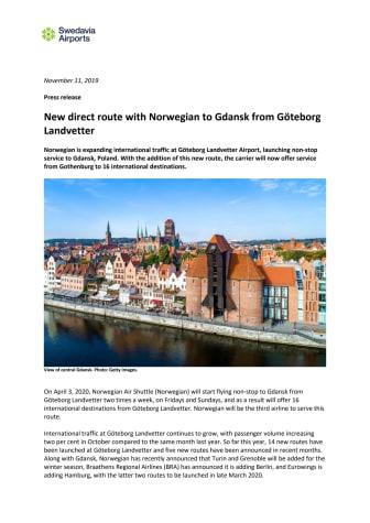 New direct route with Norwegian to Gdansk from Göteborg Landvetter