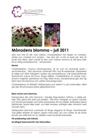 Månadens blomma – juli 2011