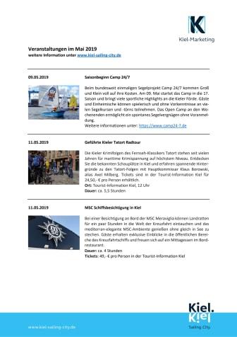 Termine im Mai über die Tourist-Information Kiel