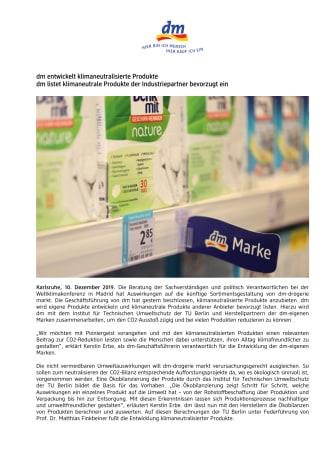 dm entwickelt klimaneutralisierte Produkte