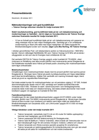 Nätmoderniseringar och god kundtillväxt - Telenor Sverige redovisar resultat för tredje kvartalet 2011