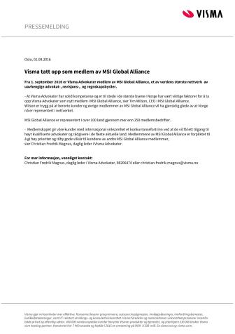 Visma tatt opp som medlem av MSI Global Alliance