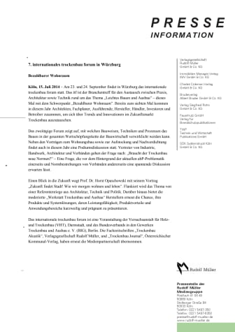 7. internationales trockenbau forum in Würzburg