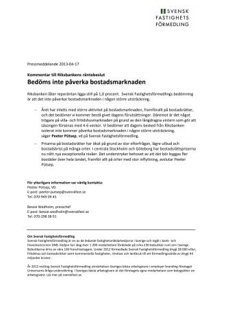 Kommentar till Riksbankens räntebeslut: Bedöms inte påverka bostadsmarknaden