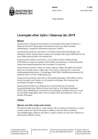 Beslut om licensjakt
