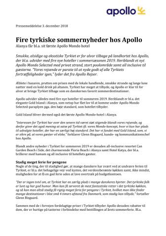 Fire tyrkiske sommernyheder hos Apollo