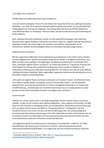 Pressemitteilung: DOYMA stellt erste BIM-Datensätze zur Verfügung