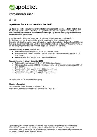 Apotekets årsbokslutskommuniké 2013