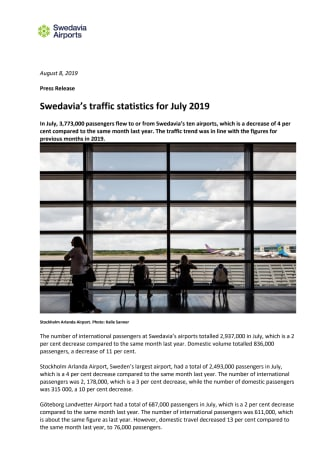 Swedavia's traffic statistics for July 2019