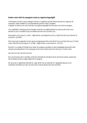 Endnu mere KIA for pengene med ny registreringsafgift