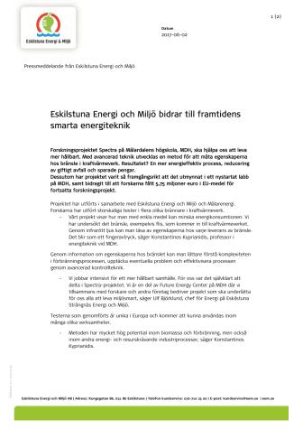 Eskilstuna Energi och Miljö bidrar till framtidens smarta energiteknik