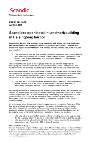 Scandic to open hotel in landmark building in Helsingborg harbor