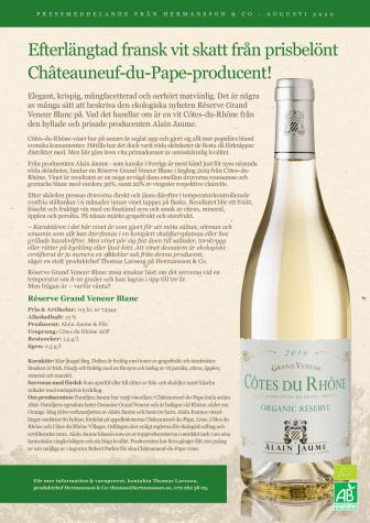 Efterlängtad fransk vit skatt från prisbelönt Châteauneuf-du-Pape-producent!