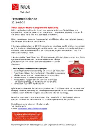 Falck stödjer Hjärt- Lungfondens forskning