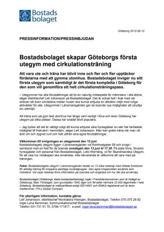 Bostadsbolaget skapar Göteborgs första utegym med cirkulationsträning