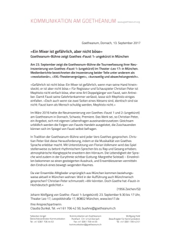 «Ein Mixer ist gefährlich, aber nicht böse». Goetheanum-Bühne zeigt Goethes ‹Faust 1› ungekürzt in München