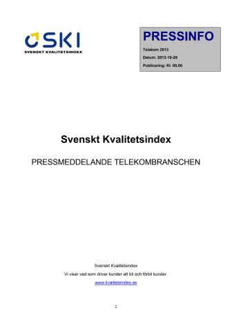 Svenskt Kvalitetsindex om Telekombranschen 2013