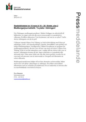Stadsbiblioteket i Malmö: Medborgarjournalistik: Ta plats i tidningen!