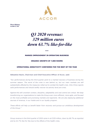 Q3 2020 revenue: 329 million euros down 63.7% like-for-like