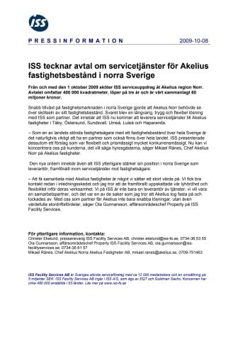 ISS tecknar avtal om servicetjänster för Akelius fastighetsbestånd i norra Sverige