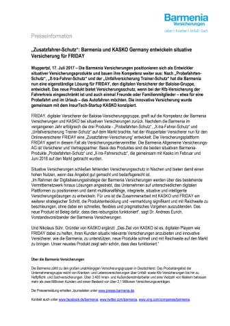 """""""Zusatzfahrer-Schutz"""": Barmenia und KASKO Germany entwickeln situative Versicherung für FRIDAY"""