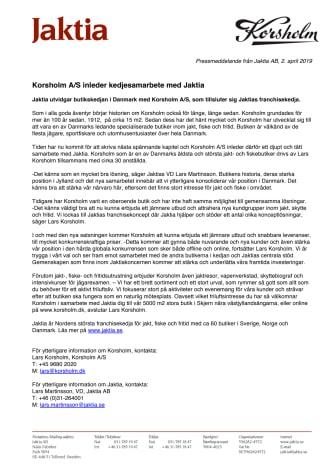 Korsholm A/S inleder kedjesamarbete med Jaktia