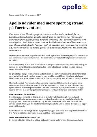 Apollo udvider med mere sport og strand på Fuerteventura