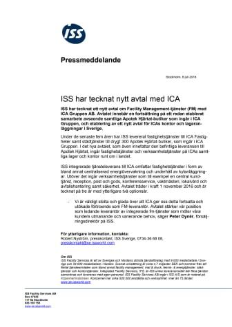 ISS har tecknat nytt avtal med ICA