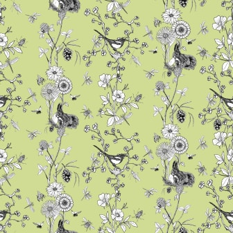 Flower stripes-90x90cm_grön kopiera