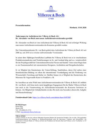 Änderungen im Aufsichtsrat der Villeroy & Boch AG: Dr. Alexander von Boch zum neuen Aufsichtsratsvorsitzenden gewählt