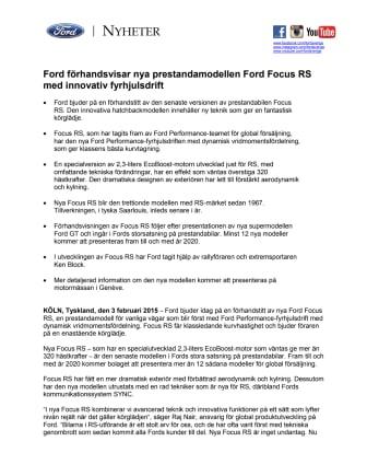 Ford förhandsvisar nya prestandamodellen Ford Focus RS med innovativ fyrhjulsdrift