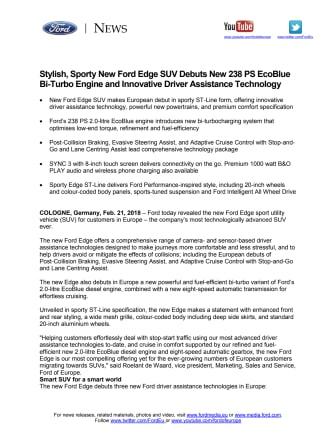 Ny Ford Edge er den mest avancerede SUV til dato